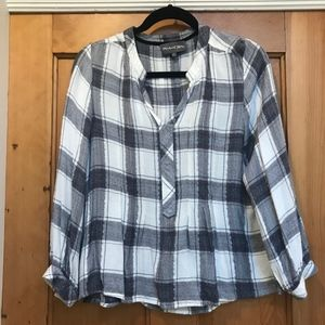 Michael Stars black, white and silver plaid top